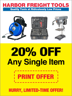 Harbor Freight In Store Free Coupon - 20% Off