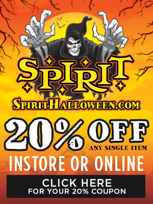 20 off any item in store or online at spirit halloween - Halloween Store Spirit