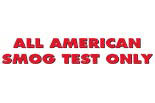 ALL AMERICAN SMOG TEST ONLY logo