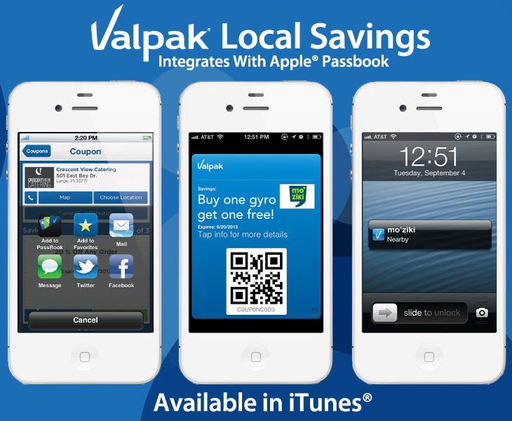 valpak integrates Apple iOS6 Passbook