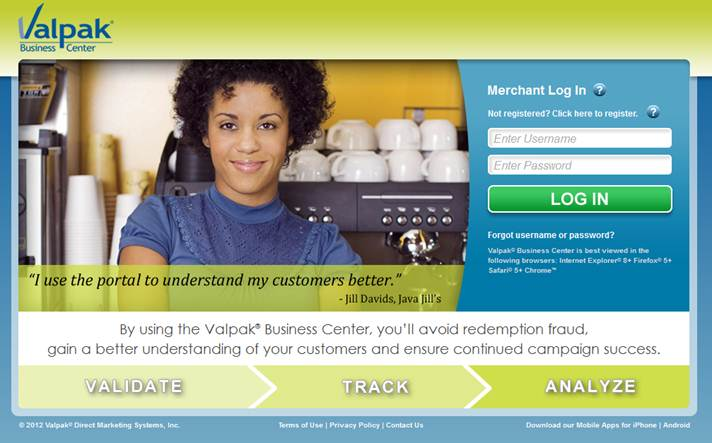 Valpak Business Center Online Coupon Redemption Tool