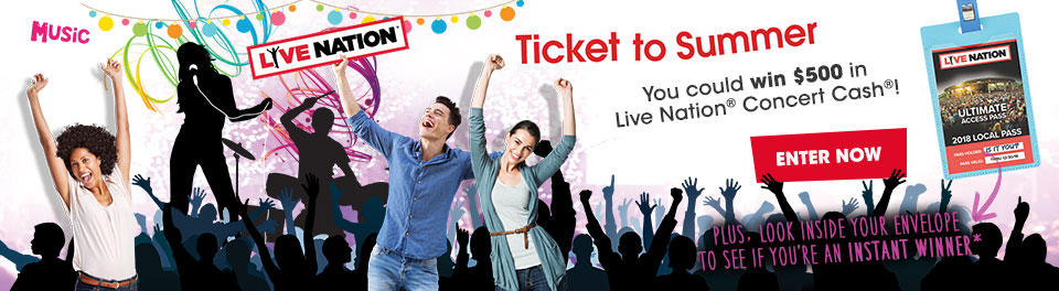You could win $500 in Live Nation Concert Cash!
