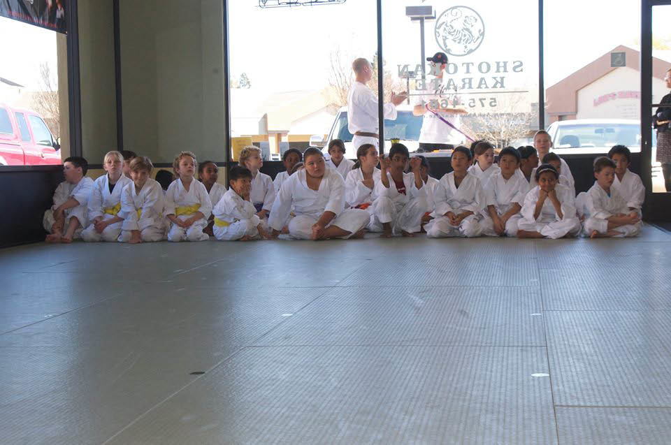 Photo of karate school classmates sitting in rows