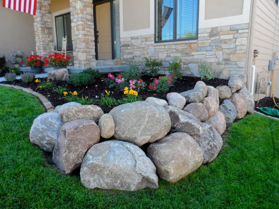 rocks and mulch landscape