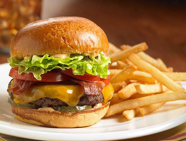cheeseburger and fries from hickory bar and grill in located burtonsville, md