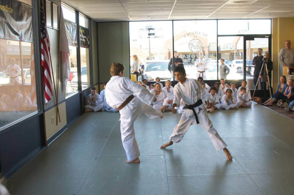 Demonstration of karate techniques with onlookers