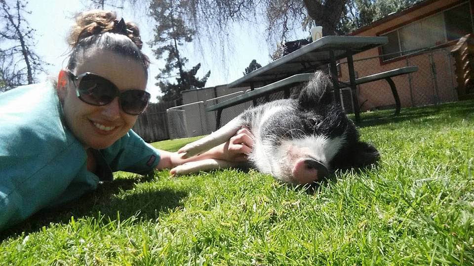 woman playing with a pet pig outside