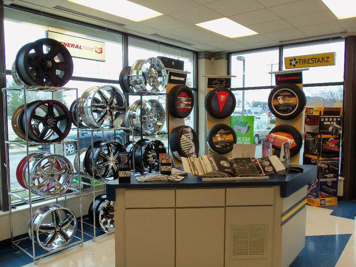 tires, wheels and rims showroom at Dellinger's Tire and Auto, Chesapeake, VA