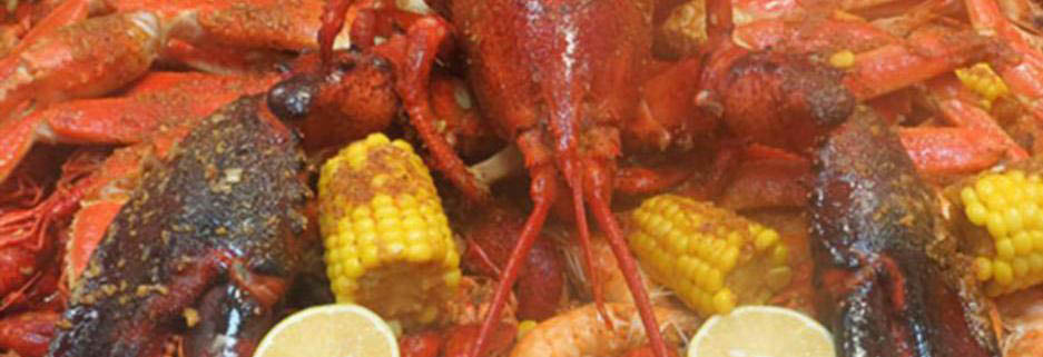 Crab and seafood boil with corn on the cob from The Juicy Crab in Duluth, GA