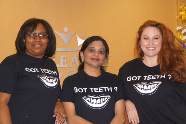Our professional dental office: Kimberly Webb, Dr. Veena Ammal, Danielle Yount