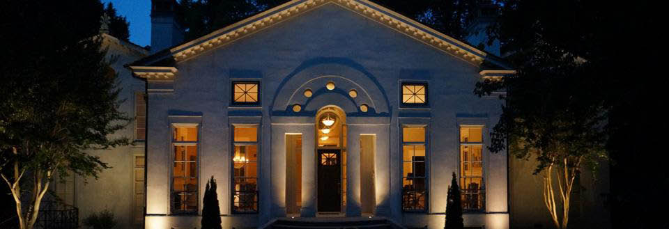 Beautiful exterior LED up-lighting of Georgia home banner