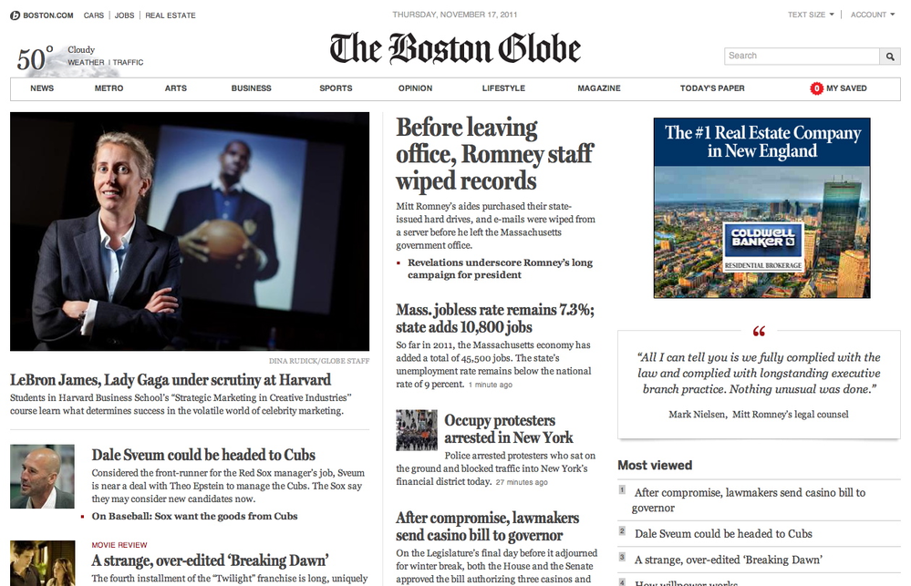 Boston Globe Subscription - Online & Local Newspaper Delivery