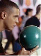 Bowling, Blue Ball, Green Bowling Ball, Bowing Ball, Man, Happy, Competitive, Game,