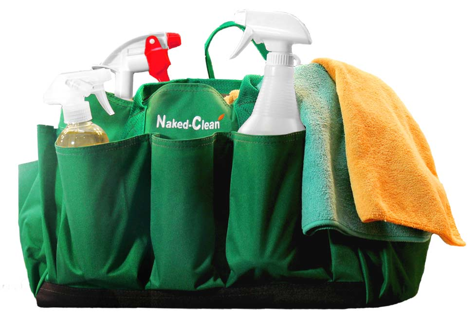 cleaning container holding cleaning products and rags; Naked Clean is efficient and thorough when we clean your house.