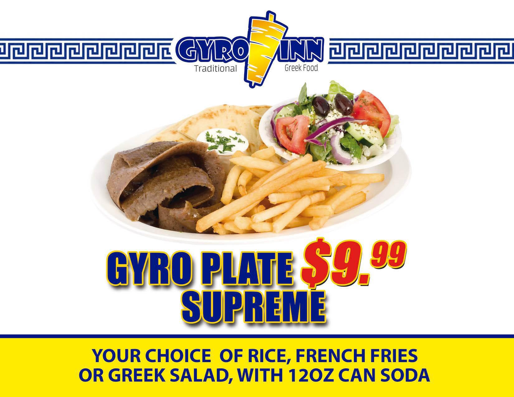 Gyros Inn Traditional Greek Gyro Plate