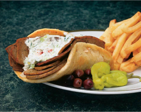 delicious gyro beef sandwich and fries