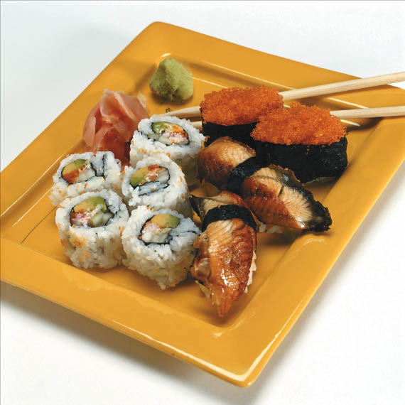 Fresh sushi rolls from the lunch buffet at Hibachi Sushi & Supreme Buffet
