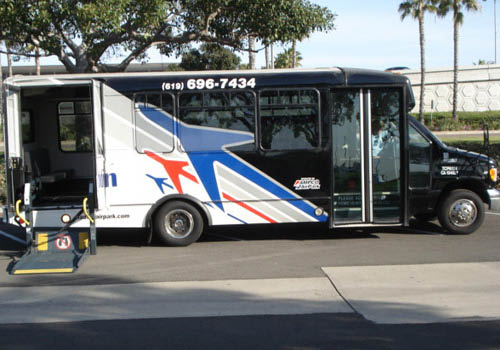 airport shuttle service in San Diego, CA; airport parking