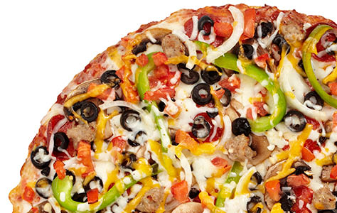 Our famous pepperoni, Italian sausage, mushrooms, black olives, bell peppers, onions & diced tomatoes