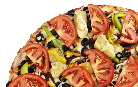 Lots of mushrooms, black olives, bell peppers, artichoke hearts, and fresh tomatoes. A pizza so great, its likeness should be carved in the side of a mountain.