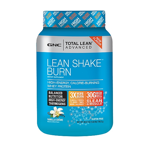 GNC stores Lean Shake Burn weight loss protein shake and energy drink, gluten free