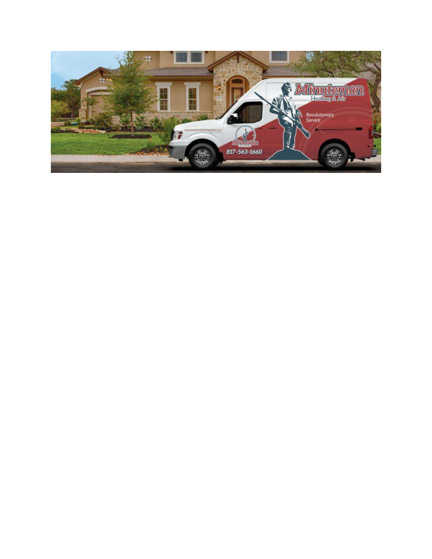 service vehicle; minuteman heating and air in fort worth and arlington texas