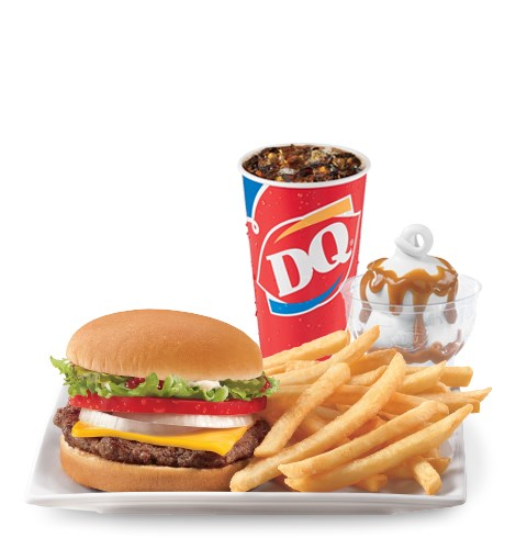 Deluxe cheeseburger box lunch special served at Dairy Queen.