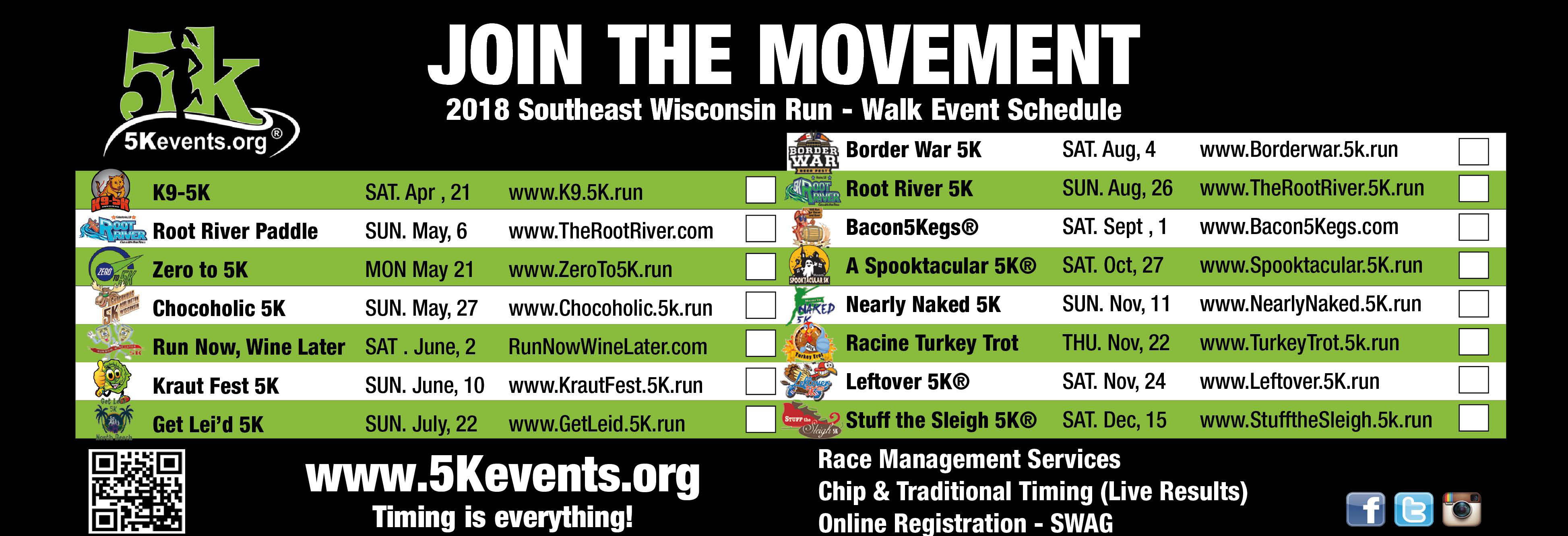 2018 Southeast Wisconsin Run Walk Event Schedule