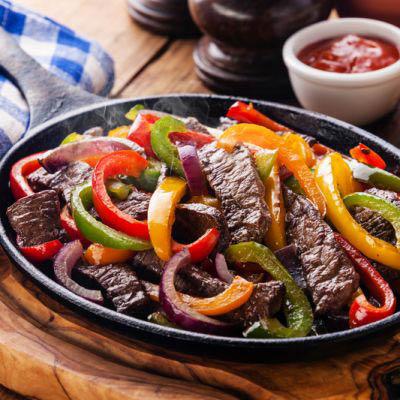 Steak fajitas served at Villa Nueva!