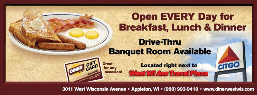 Appleton Diner, Breakfast, lunch, dinner, gas station, drive though, banquet hall, wraps, salads, ice cream