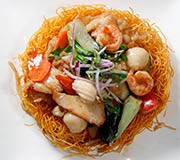 Seafood stir fry vegetables with noodles
