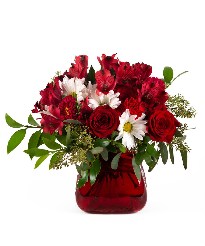 roses and daisies in vase
