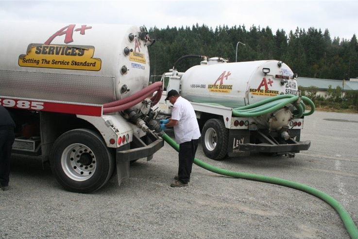 A+ Services truck - plumbing services - septic services - electrical services - heating & air conditioning services