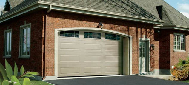 Beautiful arch and windows add to garage door character