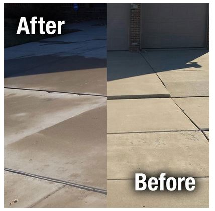 Before and after photos of uneven driveway concrete surfaces