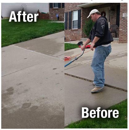 Concrete slab leveling before and after images