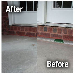Before sidewalk leveling and after A1 Concrete Leveling