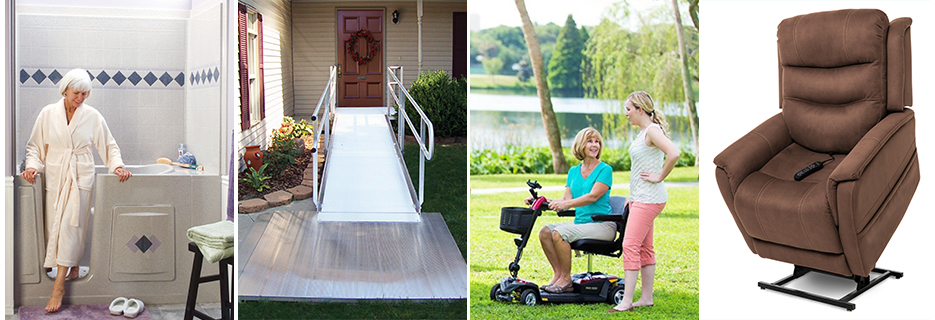 home medical equipment, home modification, walk-In tub, shower, ramp, scooter, lift chair