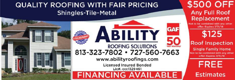 Ability Roofing Solutions banner tampa, fl
