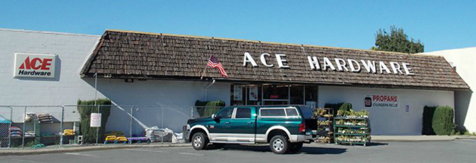 Pittsburg ACE Hardware building exterior storefront banner