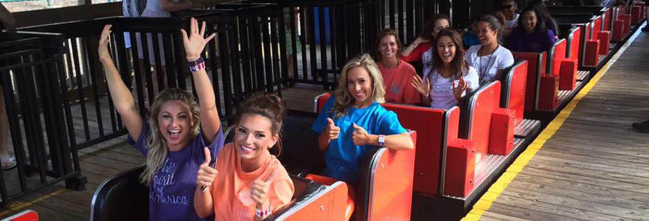 girls on a roller coaster at Alabama Splash Adventure in Birmingham, AL