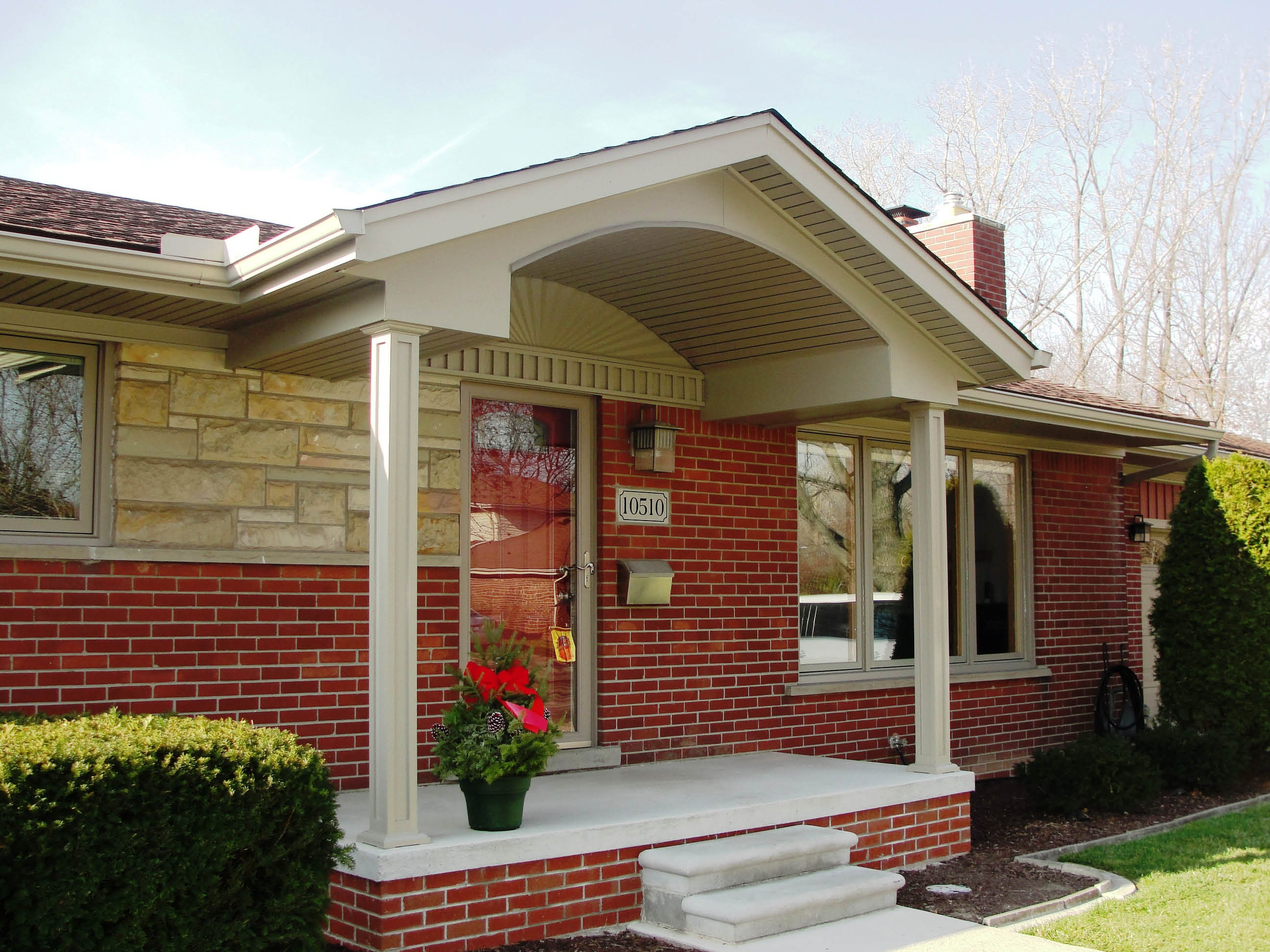 Photo of porch overhang provided by All Point Construction in Allen Park, MI