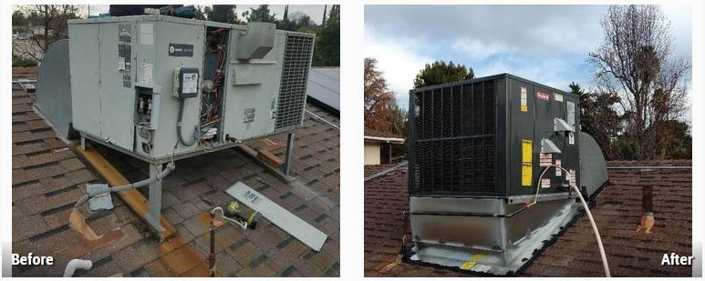 Before and after installation from AQS Heating & Air Conditioning in Hemet, CA