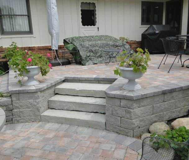 photo of steps to patio created by A & S Hardscaping