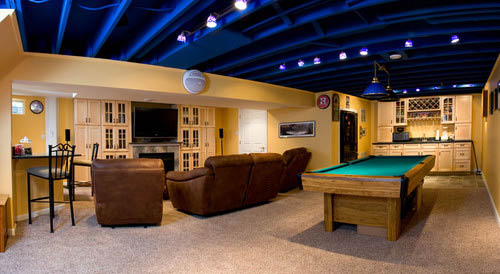 pool table basement remodel
