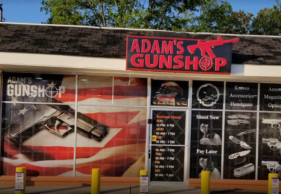Picture of exterior of Adam's Gun Shop in Flushing