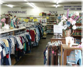 Rows and rows of clothes at Affordable Treasures in Bellflower, CA