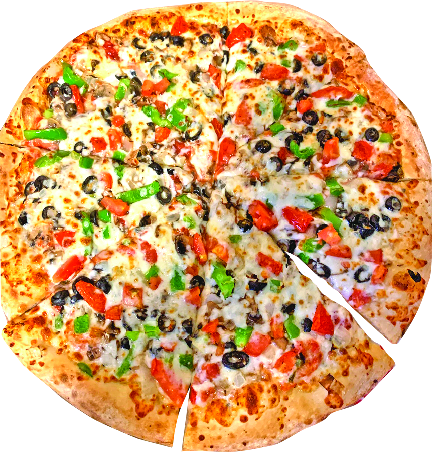 Delicious Aldo's Pizza with meats, cheese and veggies