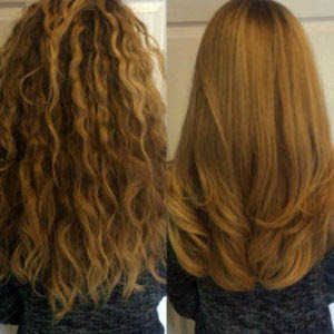 Before and after hair straightening near Hinsdale