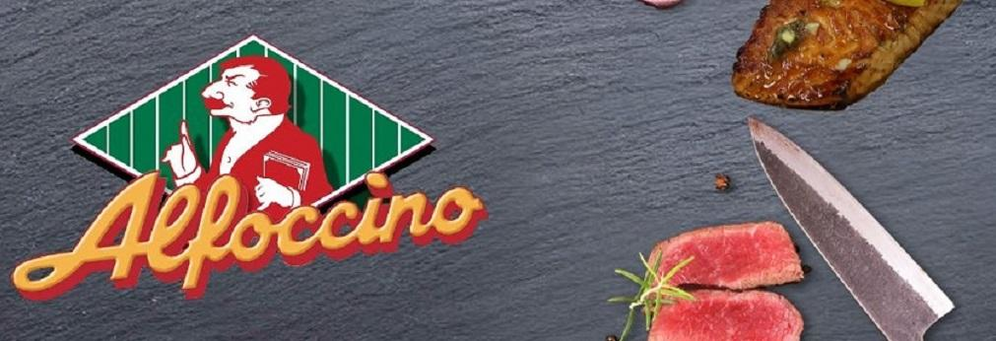 Alfoccino's logo with photo of steak, seafood and knife in Auburn Hills, MI